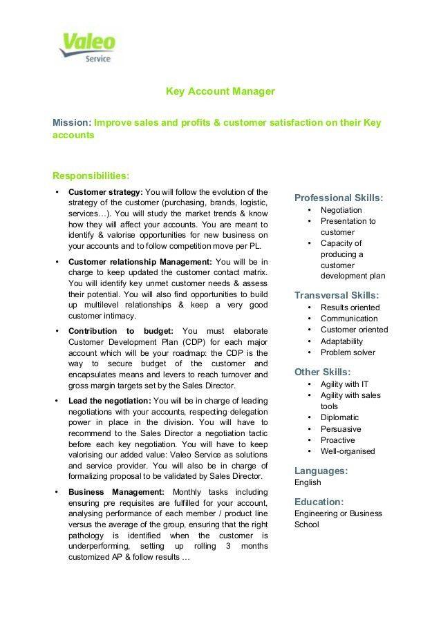 Valeo Service Key Account Manager Job Description