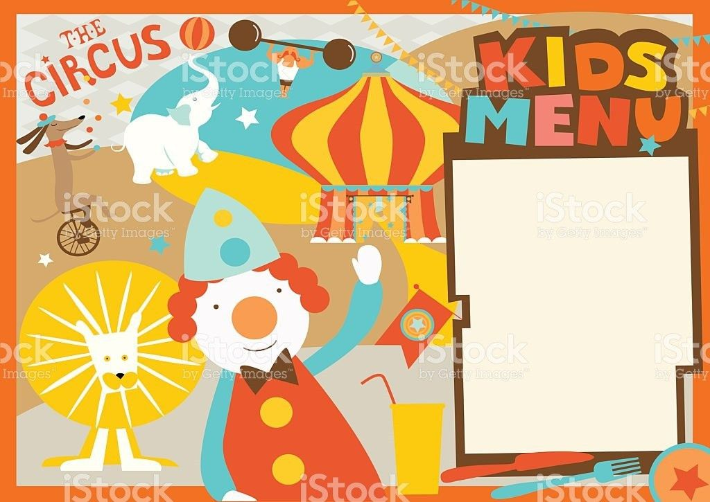 Kids Menu Template Circus Style stock vector art 485969083 | iStock