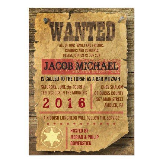 WILD WEST WANTED Bar Bat Mitzvah Invitation | Zazzle.com