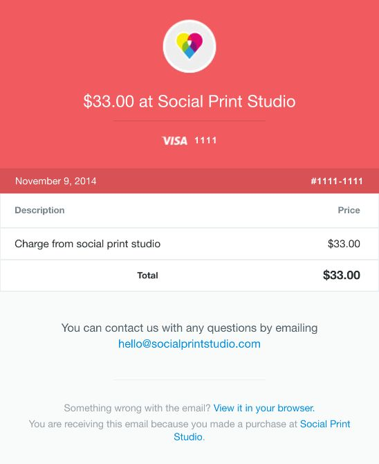 Your Social Print Studio receipt [#1111-1111] - Really Good Emails