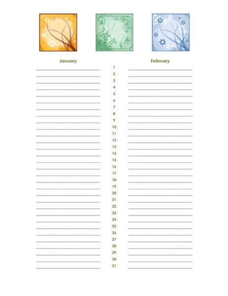 Birthday and anniversary calendar - Office Templates