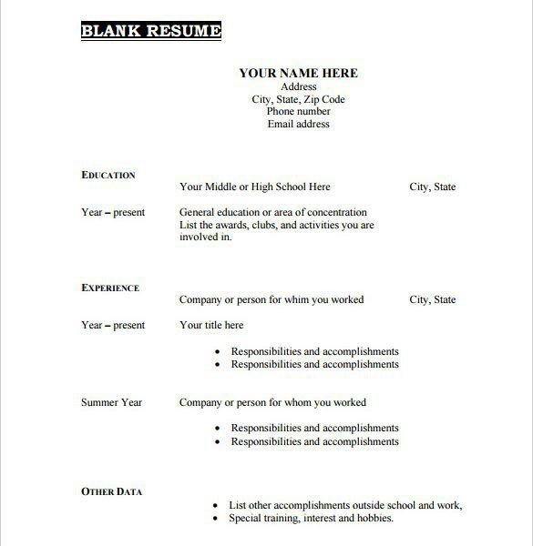Blank Format Of Resume. Resume Template References Upon Request ...