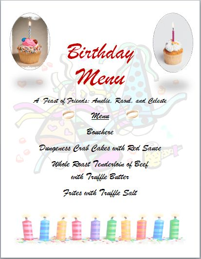 11 Birthday Menu Templates – Bates On Design