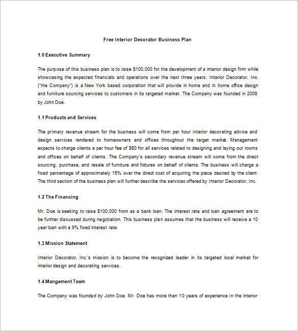 Interior Design Business Plan Template – 7+ Free Sample, Example ...