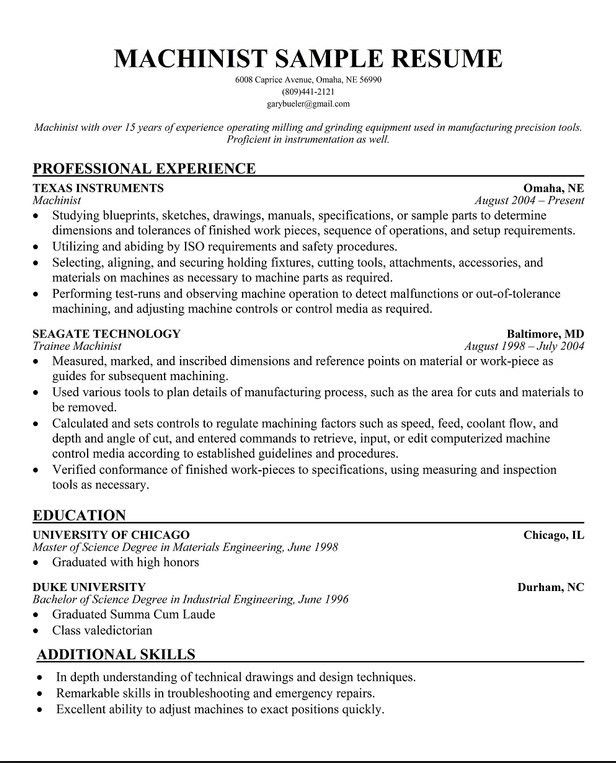 CNC Machinist Resume Models | Free Resume Templates