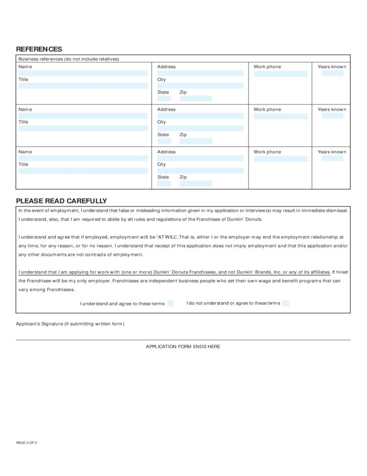 Dunkin' Donuts Employment Application Form Free Download