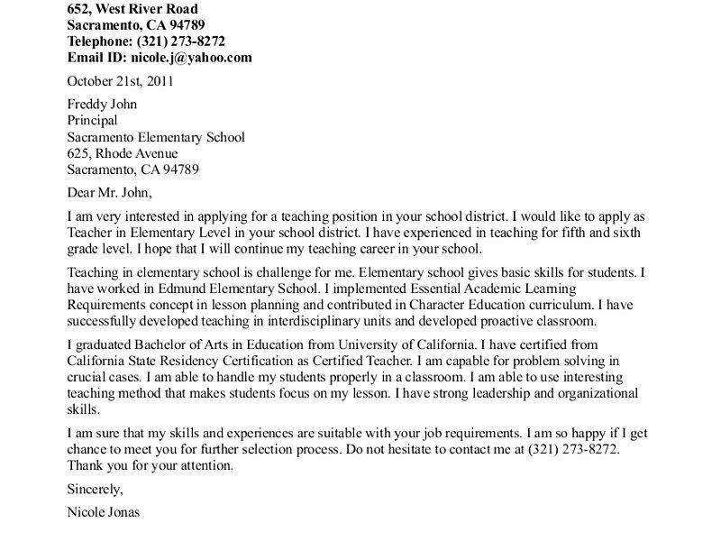 Nice Ideas Sample Cover Letters For Teachers 12 Cover Letter ...