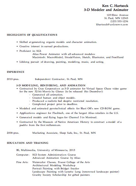 Resume Example for a 3-D Modeler / Animator - Susan Ireland Resumes