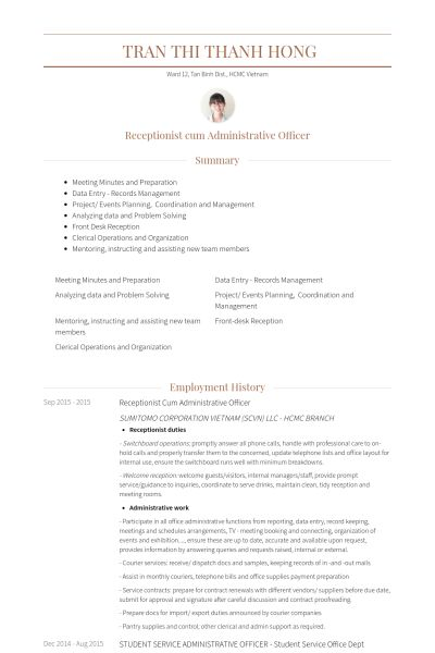 Administrative Officer Resume samples - VisualCV resume samples ...