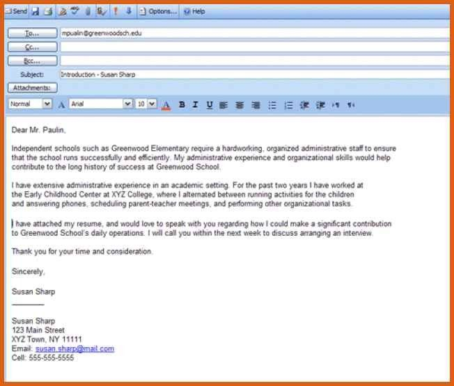 cover letter email sample | apa examples