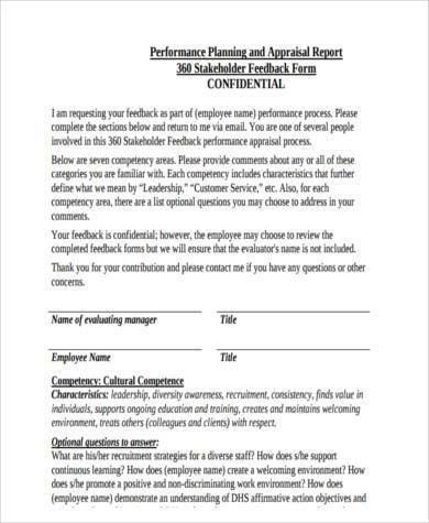 Sample Appraisal Feedback Forms - 9+ Free Documents in Word, PDF