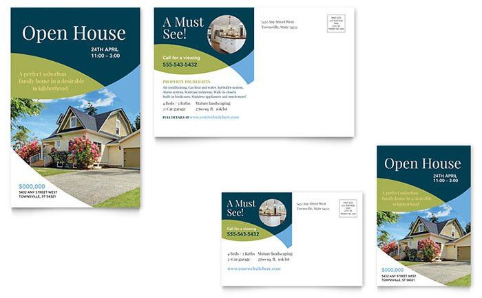 For Sale by Owner Postcard Template Design