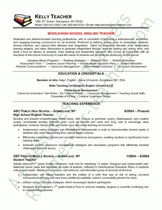 Sample Templates For Teacher Resume - http://www.resumecareer.info ...