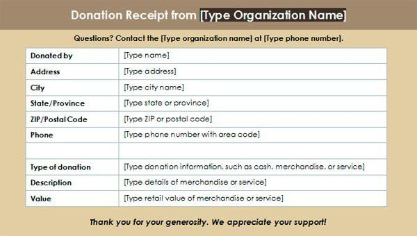 Charitable Donation Receipt Template #3