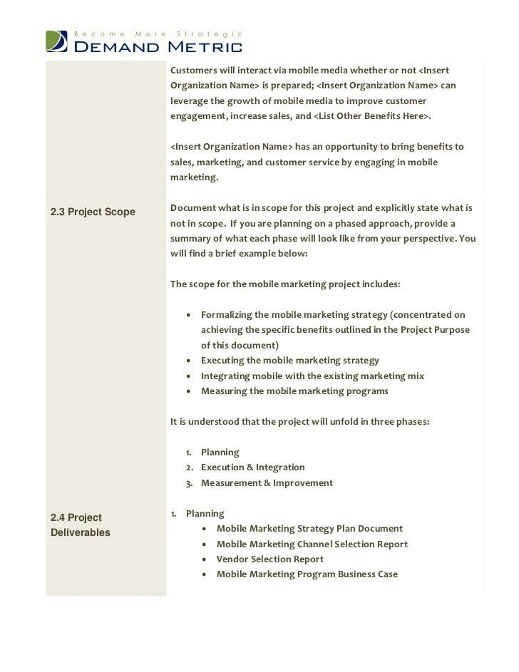 Mobile Marketing Project Charter