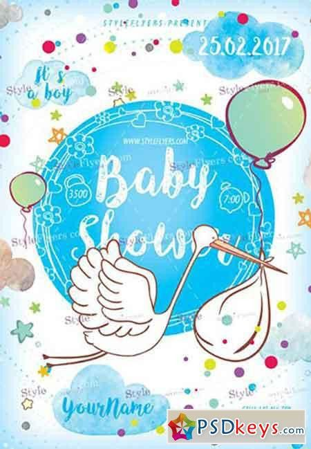 Baby Shower PSD Flyer Template » Free Download Photoshop Vector ...