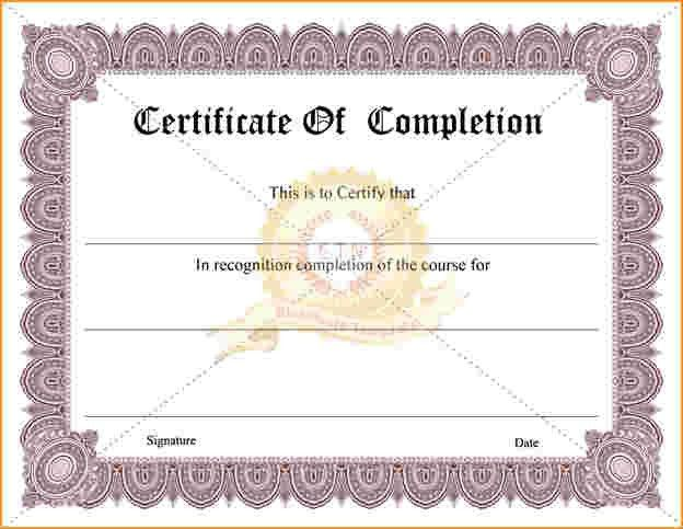 Certificate Of Completion.Free Certificate Of Completion Templates ...