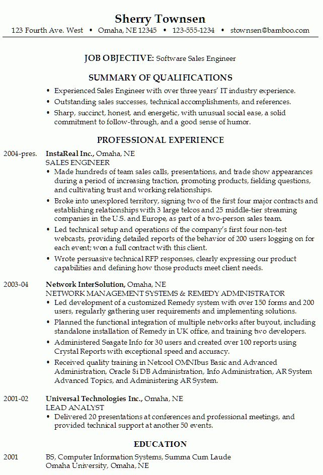 Resume for a Software Sales Engineer - Susan Ireland Resumes