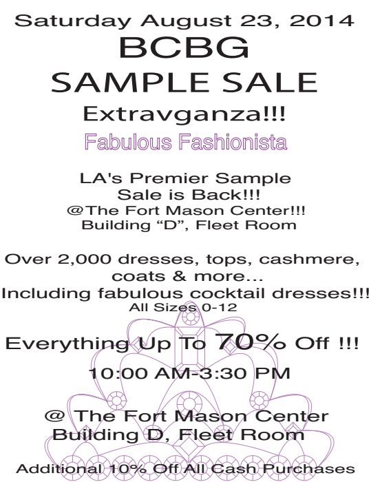 BCBG Sample Sale in San Francisco - CA - August 2014 | WHSale