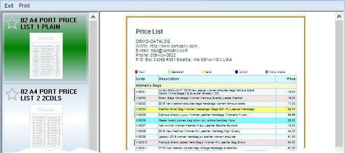 Price list design - Classical Price List Template