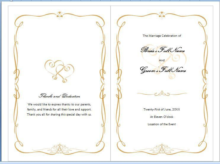 Free MS Word Family Wedding Program Template | Formal Word Templates