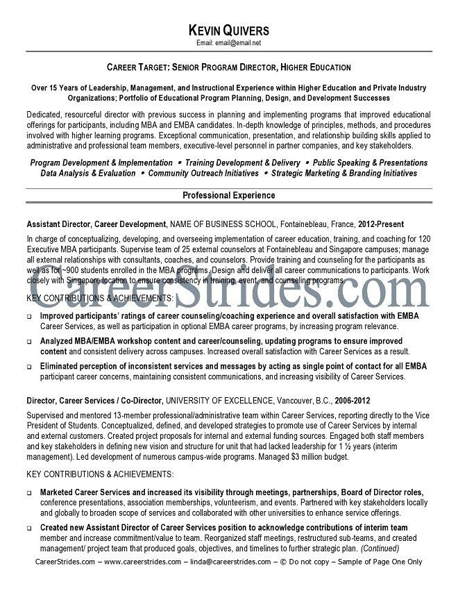 higher education resume sample top 8 educational consultant