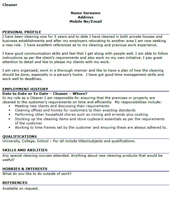 Cleaner CV Example - icover.org.uk