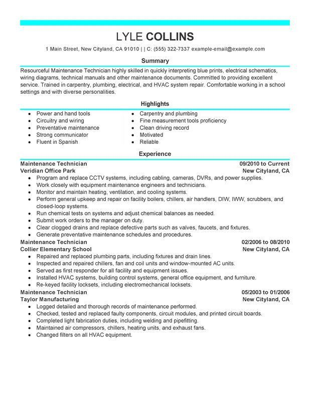 Mechanic Resume Template. Maintenance Technician Resume Sample ...
