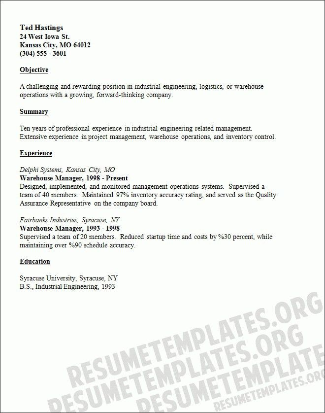 Resume Objective Examples For Warehouse Worker | Template Design