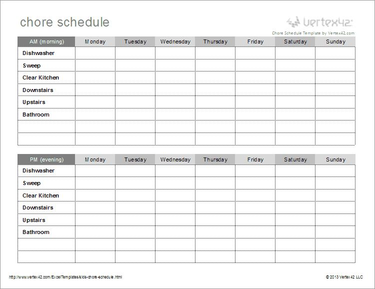 Kids Chore Schedule Template