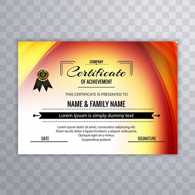 Colorful certificate of achievement template Vector | Free Download