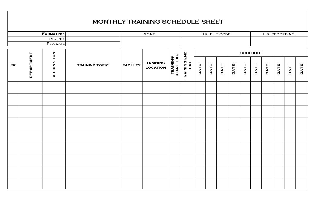 Employee monthly training schedule document