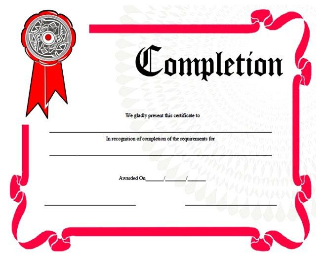 Sample Certificate Of Completion Template. Free Cetificate ...