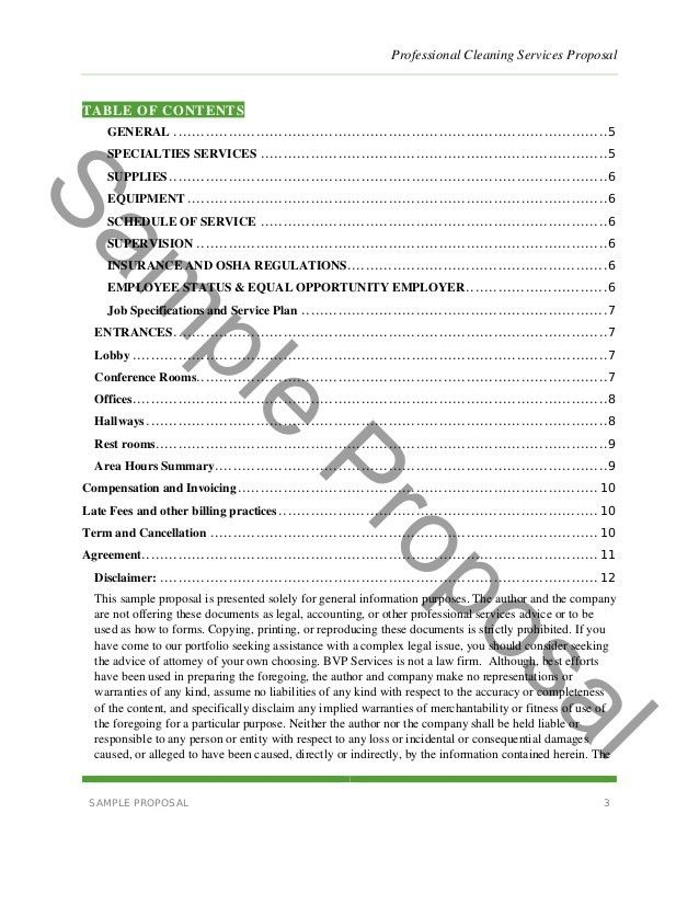 Cleaning Proposal Templates. Cleaning Bid Proposal Template ...