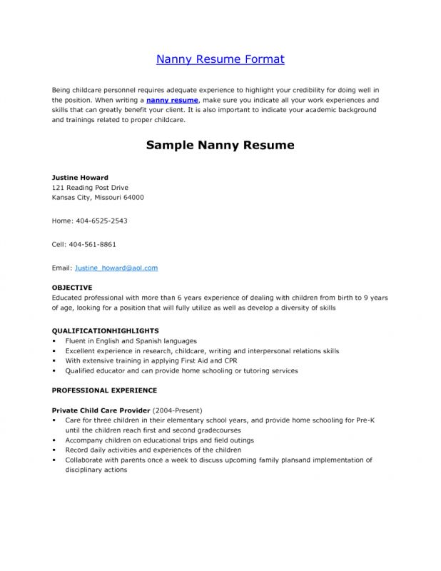 Download Nanny Resume Example | haadyaooverbayresort.com