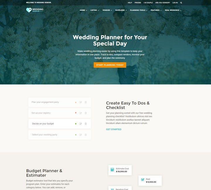 Wedding Vendor Directory HTMl Responsive Website Template