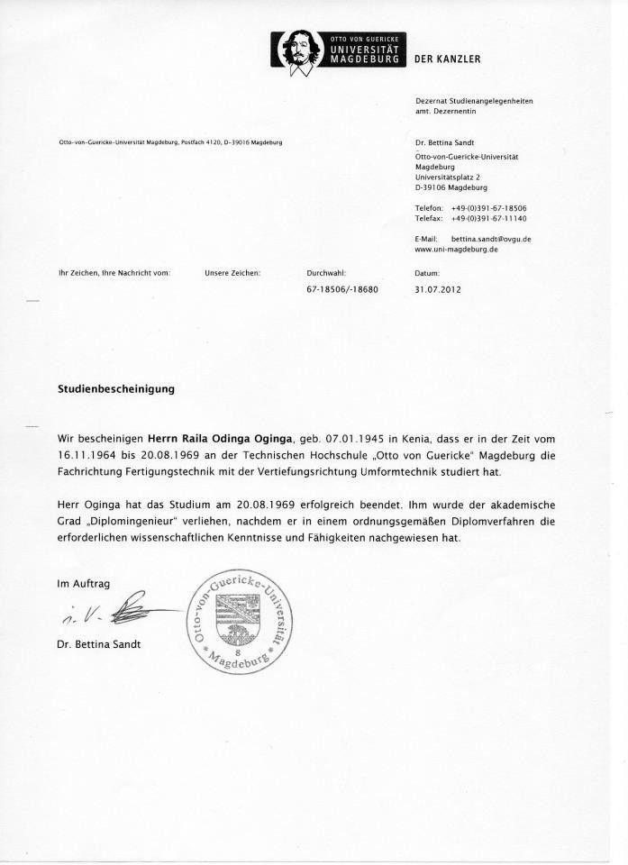 Raila Odinga's Masters Degree Certificate Made Public
