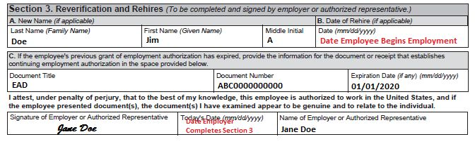 Completing Section 3, Reverification and Rehires | USCIS