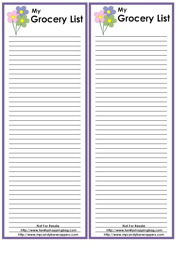 Free Shopping List Template Free Printable Grocery List And – Grocery Template Printable