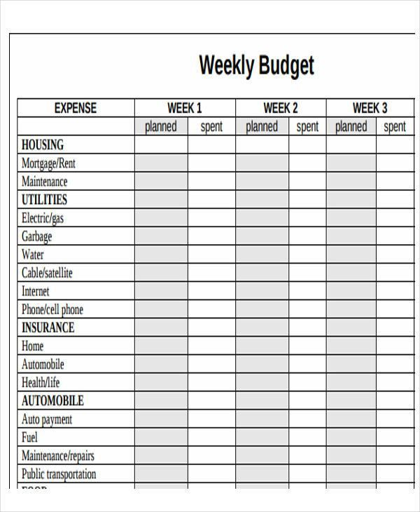weekly budget spreadsheet