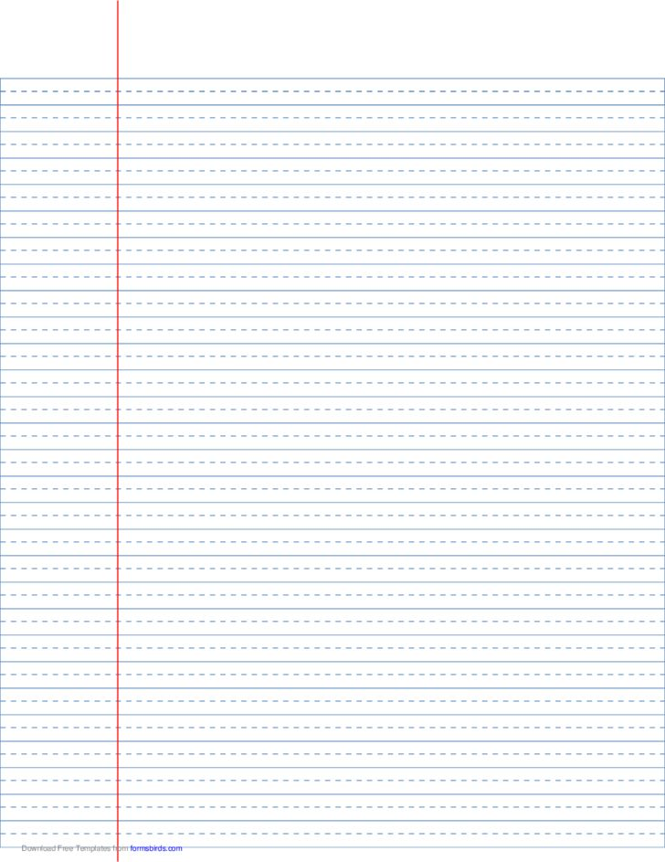 Wide-Ruled Lined Paper with Dashed Center Guide Line Free Download