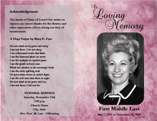 memorial service programs sample | Front of program Back of ...