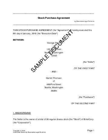 Share Purchase Agreement (USA) - Legal Templates - Agreements ...