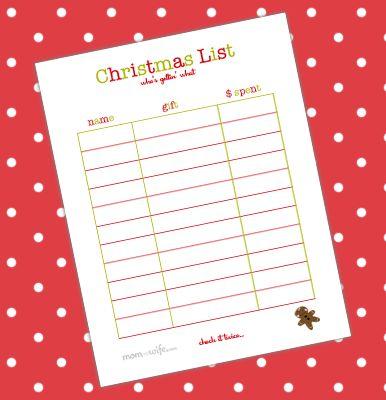Printable Christmas List - Mom & Wife