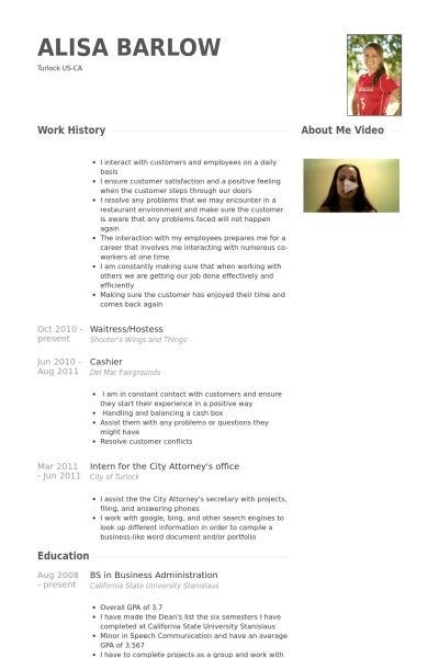 Waitress/Hostess Resume samples - VisualCV resume samples database