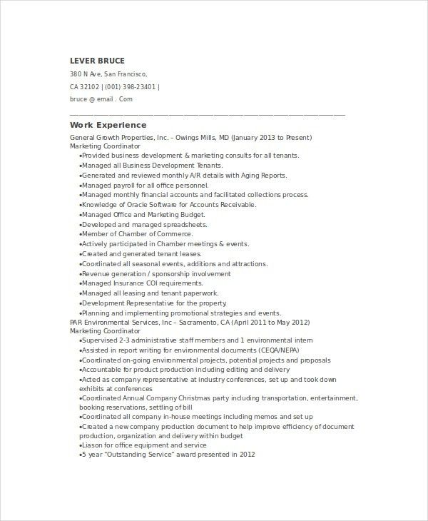 Marketing Coordinator Resume Template - 5+ Free Word, Documents ...
