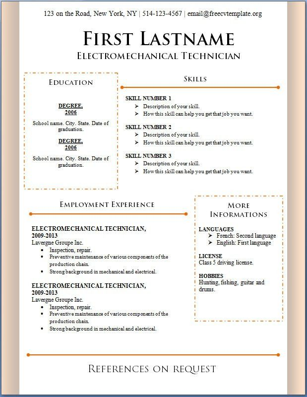 resume templates free download