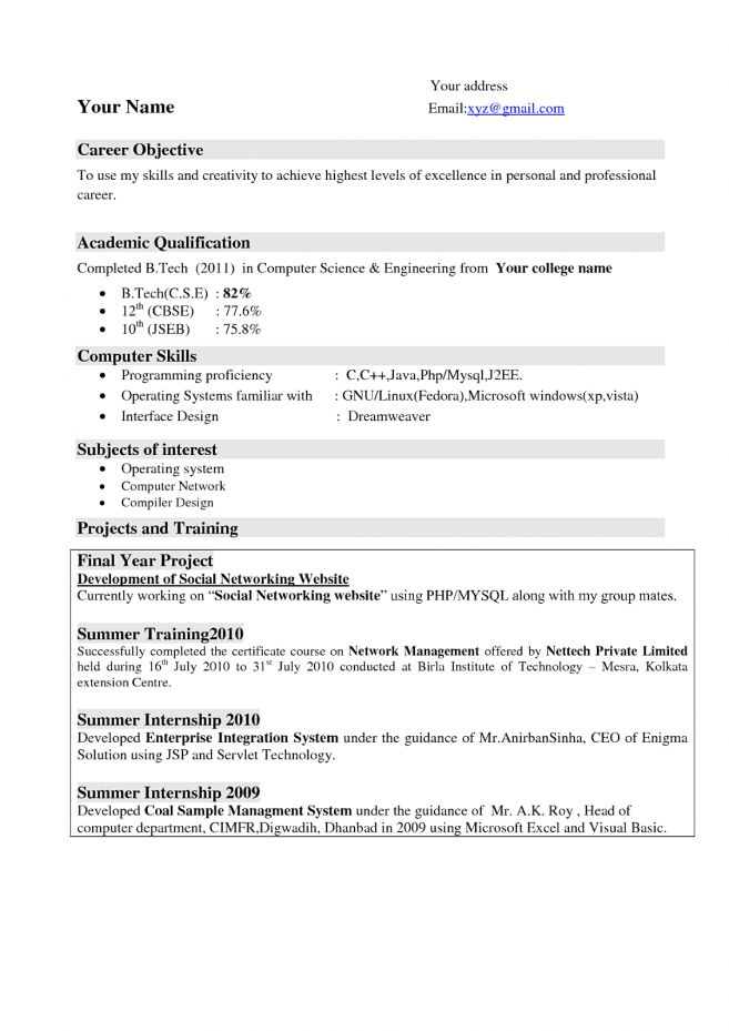 Resume Career Objective For Fresher - Contegri.com
