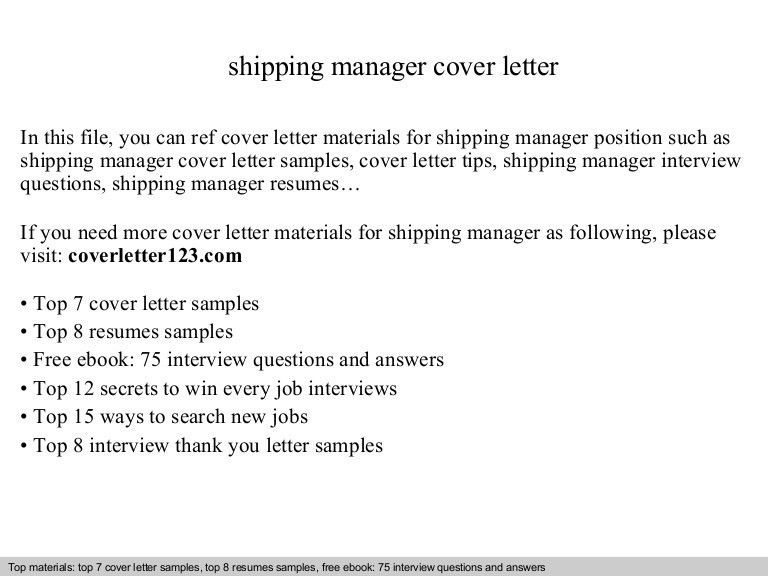 Shipping manager cover letter
