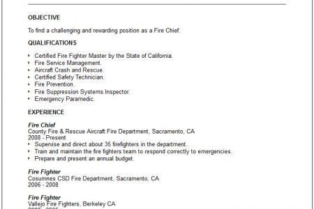 fire chief resumes
